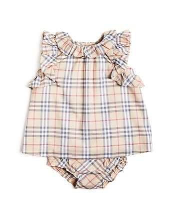 Burberry - Girls' Carla Ruffle Check Dress & Bloomers Set - Baby