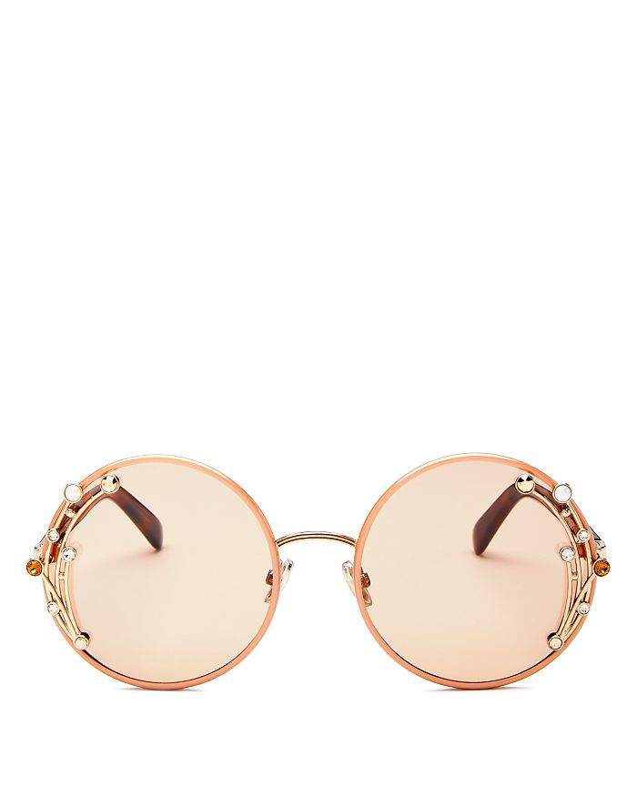 679316eeba4 Jimmy Choo - Women s Gema Embellished Mirrored Round Sunglasses