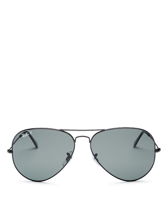 Ray Ban Ray-ban Unisex Polarized Brow Bar Aviator Sunglasses, 62mm In Black/black Polarized
