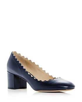 Chloé - Women's Lauren Scalloped Block Heel Pumps