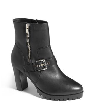 Buckled Chunky Heel Boots in Black