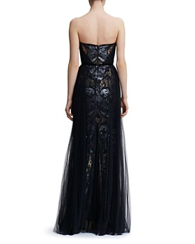 MARCHESA NOTTE - Strapless Sequined Tulle-Overlay Gown