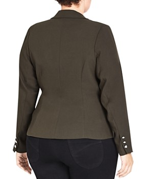 City Chic Plus - Military Button Jacket