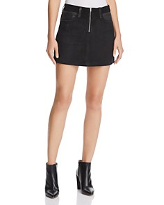 Hudson - Suede & Leather Mini Skirt