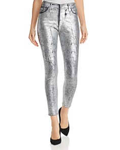 AG - Farrah Metallic Coated Skinny Jeans in Iced Silver