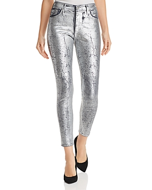 Ag Cottons FARRAH METALLIC COATED SKINNY JEANS IN ICED SILVER