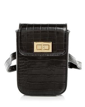 STREET LEVEL Croc-Embossed Belt Bag in Black/Gold