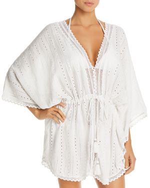 ECHO Eyelet Caftan Swim Cover-Up in White