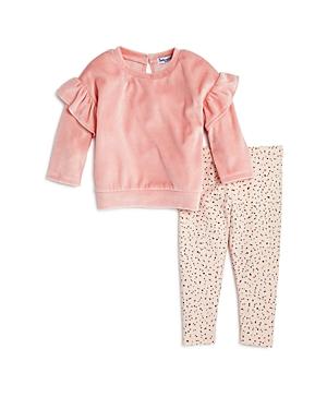Splendid Girls Ruffled Velour Sweatshirt  Dotted Leggings Set  Baby