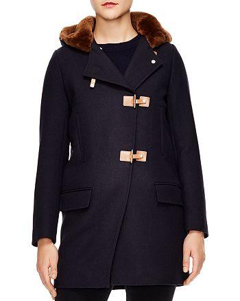 Sandro - Balsamine Fur Hood Wool Coat