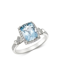 Bloomingdale's - Aquamarine & Diamond Milgrain Ring in 14K White Gold - 100% Exclusive