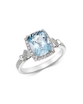 Bloomingdale's - Aquamarine & Diamond Milgrain Ring in 14K White Gold - 100% Exclusive