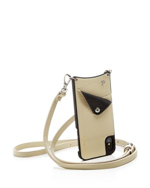 BANDOLIER Leather Iphone X Crossbody in Ivory/Silver