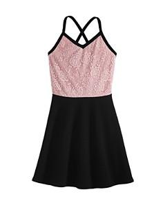 AQUA - Girls' Contrast Lace Dress, Big Kid - 100% Exclusive