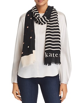 kate spade new york - Bakery Dotted & Striped Oblong Scarf