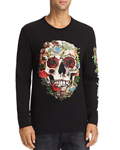True Religion - Skull Bloom Long-Sleeve Embroidered Graphic Tee