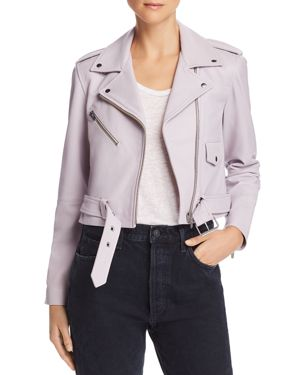 VEDA Baby Jane Smooth Leather Moto Jacket - 100% Exclusive in Violet