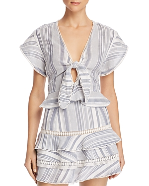 Red Carter STRIPED TIE-FRONT TOP