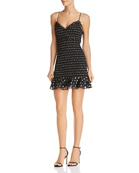 LIKELY - Ruffled Metallic Dot Mini Dress