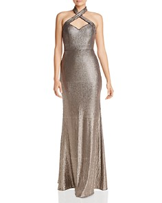 AQUA - Sequined Halter Gown - 100% Exclusive