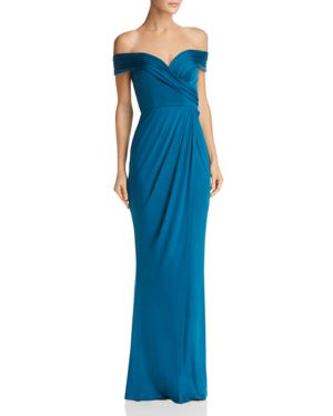 BARIANO Off-The-Shoulder Draped Gown in Teal