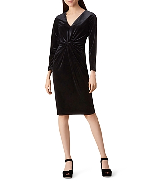 Hobbs London Emilia Twist-Front Velvet Dress