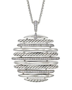 David Yurman - Tides Pendant Necklace with Pavé Diamonds in Sterling Silver