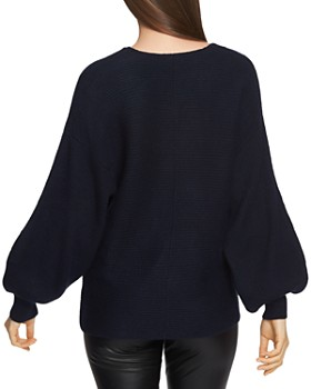 1.STATE - V-Neck Bubble-Sleeve Sweater
