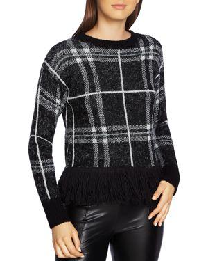 1.state Eyelash Plaid Fringe-Trim Sweater