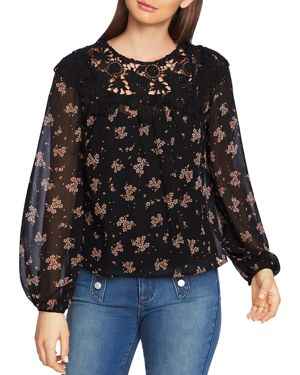 1.state Crochet Trim Floral Print Top