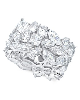 Crislu - Celebration Ring in Platinum-Plated Sterling Silver