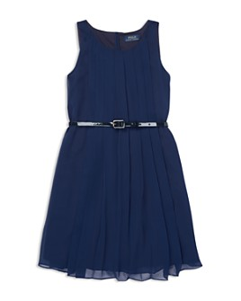 Ralph Lauren - Girls' Pleated Chiffon Dress with Belt - Big Kid