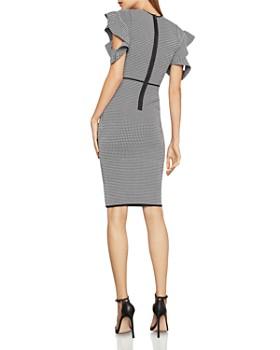 BCBGMAXAZRIA - Cold-Shoulder Houndstooth Dress
