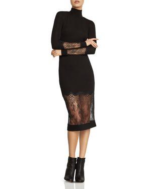 Bcbgmaxazria Lace-Inset Turtleneck Dress