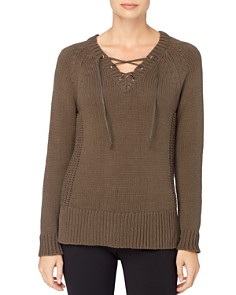 CATHERINE Catherine Malandrino - Prue Lace-Up V-Neck Sweater