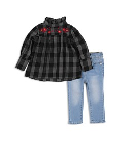 7 For All Mankind - Girls' Plaid Top & Light-Wash Jeans Set - Baby
