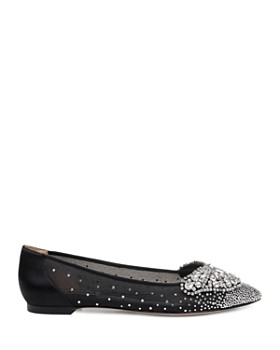 Badgley Mischka - Women's Quinn Crystal Embellished Pointed Toe Flats