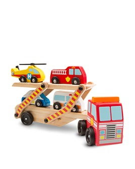 Melissa & Doug - Wooden Emergency Vehicle Carrier - Ages 3+