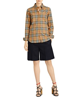 Burberry - Check Print Button Down Top