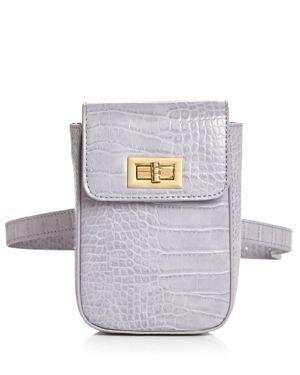 STREET LEVEL Croc-Embossed Belt Bag in Lilac/Gold
