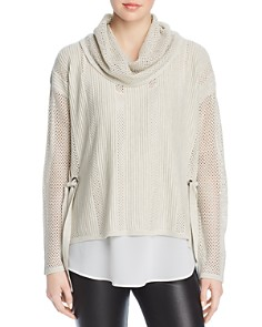 Design History - Cowl-Neck Open-Knit Sweater