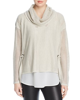 f6ce1307ae3 Design History - Cowl-Neck Open-Knit Sweater ...