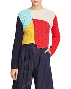 Alice and Olivia -  Lebell Mixed-Knit Cropped Sweater