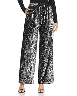 Milly SEQUINED WIDE-LEG TRACK PANTS