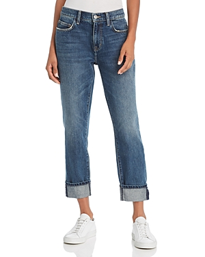 Current/Elliott The Fling Cropped Boyfriend Jeans in 1 Year Worn Rigid Indigo