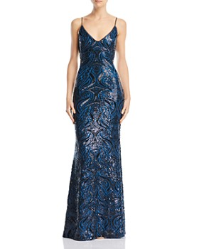 Avery G - Open-Back Sequined Gown