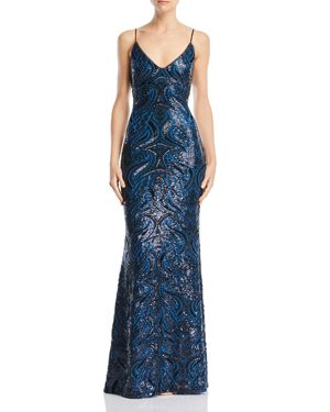 AVERY G Open-Back Sequined Gown in Teal/Black