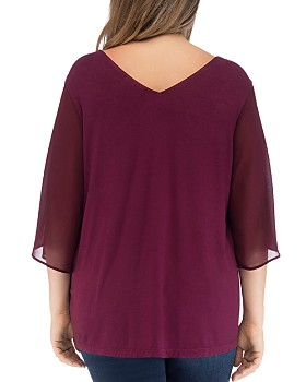 B Collection by Bobeau Curvy - Bria Mixed Media Overlay Top