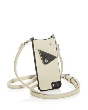 BANDOLIER Leather Iphone Crossbody in Ivory/Silver