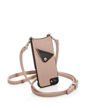 BANDOLIER Leather Iphone Crossbody in Desert Rose Pink/Silver